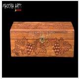 La mano de madera auténtica del rectángulo de la botella de cerveza del vino talló para los Madera-Artes Ind de la Navidad
