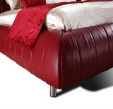 Самая последняя кровать кожи мебели комнаты конструкции дешево самомоднейшая стандартная