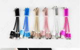 2 em 1 cabo de alumínio da carga de cabos do telefone móvel do cabo do USB do micro