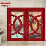 居間のスライドガラスの二重入口エントリ材木の木製のドア(GSP3-019)
