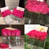 Rectángulo floral de acrílico plástico creativo de la flor, rectángulo de Rose del regalo del día de madre