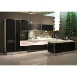 白くおよび黒く顧客作られる現代高い光沢のあるラッカー台所食器棚