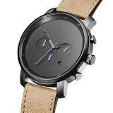 Handgelenk-Edelstahl-Quart-Uhr der Timepiece-lederne Band-Männer