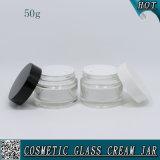 Tarro de 50 ml de cristal claro de crema con tapas de plástico