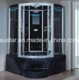1350mmのセクターの黒のジャクージおよびシャワー(AT-GT0201F)との曇った蒸気のサウナ
