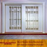 Porte coulissante en verre des graines en bois blanches de peinture (GSP3-034)