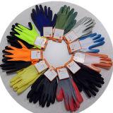 Неоновый померанцовые Nylon серые перчатки латекса с Crinkle законченный Dnl419