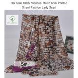 Signora calda Viscose Scarf di modo di vendita 2017 con lo scialle stampato retro mattone