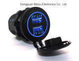 Auto Car-Styling Car-Charge 5V 4.2A Dual USB Charger Socket Adapter Tomada de alimentação para 12V 24V Motorcycle Car com LED