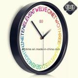 Seule horloge de mur chaude colorée de bâti de noir de décor
