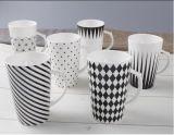 Taza de café barata de cerámica de venta de la porcelana blanca caliente del redondo
