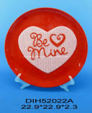 발렌타인 데이 훈장을%s 손으로 그리는 세라믹 둥근 격판덮개