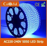Luz de tira impermeável do diodo emissor de luz de RoHS AC220V SMD5050 do Ce