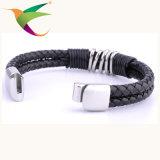 Stlb-17011011 moda de cuero pulsera joyería de plata para hombre