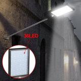 Lampada solare del giardino dell'indicatore luminoso 36 LED di movimento del sensore di via umana chiara solare ultrasottile esterna del sensore con il montaggio del Palo