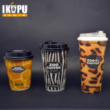 Eco-Friendly Desechable ondulado Take Away Ripple papel de pared tazas de café con color púrpura impreso con tapas