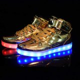LED Light Up Silver Gold Party Night-Club Homens Mulheres LED Shoes