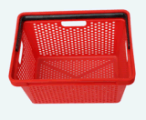Panier à provisions en plastique de supermarché de trois traitements