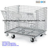 Foldable & Stackable Wire Mesh Pallet Cage para Warehouse Storage