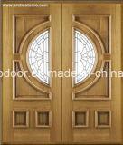 Puerta de madera de entrada comercial, Clásico 100% madera sólida para Villa, Decoración con vidrio