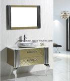 Assoalho que está o gabinete de banheiro do aço inoxidável de dissipadores dobro