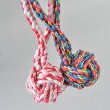 다채로운 면 Handmade 매듭 애완견 강아지 공 땋는 긴 밧줄 이 청소 바이트 장난감
