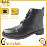 Black Leather Military Ankle Boots