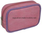 Petit sac rose mignon de produit de beauté de bourse de pièce de monnaie de faisceau filiforme