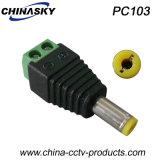 CCTVのねじ込み端子(PC103)が付いている男性のDC電源のプラグ