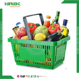 28L Plastic Double Handle Supermarket Basket for Shops