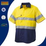 Van het Katoenen van 100% Overhemd het Weerspiegelende Verbonden Korte Werk van de Koker