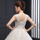 V-Neck ein Line Appliques Lace herauf Wedding Dress (SLD007)