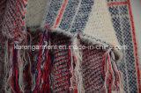 格子縞パターンふさは滝のカーディガンの女性のコートを編んだ