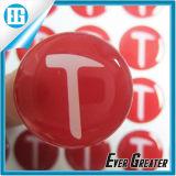 Etiqueta engomada roja de encargo del cristal del epóxido de la bóveda de la palabra del redondo T
