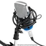 Negro T-5 para el ideal del micrófono de 48-51m m para el estudio de difusión de radio/el estudio de la voz superpuesta/de los sonidos/el montaje de choque universal (negro) del micrófono del metal de la grabación