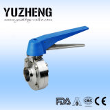 Válvula de mariposa sanitaria de la ISO de Yuzheng con los extremos de la soldadura