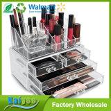 Organizador cosmético de acrílico de la visualización del caso del almacenaje del maquillaje y de la joyería con el cajón 4