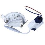 Panneaux ultra-minces ronds de coulage sous pression d'éclairage de Downlight 90lm/W de lampe de plafond du voyant de l'aluminium +Acrylic Boby 3W AC85-265V