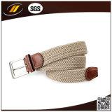 Cinghia elastica di stirata di colore puro Braided del tessuto con le tabulazione di cuoio del Brown