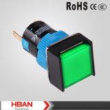 Interruptor de tecla iluminado diodo emissor de luz momentâneo da cabeça 5A/250VAC do quadrado da tecla do Ce ISO9001 TUV 16mm