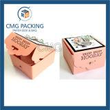 Pequeño rectángulo de torta de papel de la impresión azul Unadorned de la flor (CMG-apelmazar box-009)