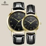Relógio marcado pulso 70012 do amante dos pares do couro genuíno de qualidade superior