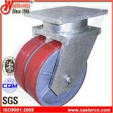 Rodízio giratório de poliuretano vermelho extra de 12 polegadas