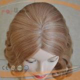 Горячий продавая польностью людской белокурый золотистый парик женщин шнурка волос