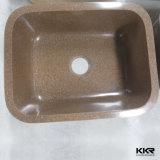 Dissipador de pedra de superfície contínuo preto do Upc para a cozinha (S1609302)