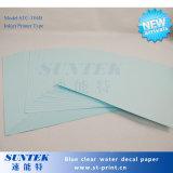 Papel de imprenta claro basado azul de la transferencia de la etiqueta de la diapositiva de agua de la inyección de tinta