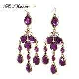 低下の女性の方法宝石類のギャラリー長いEaringsのための紫色のラインストーンのふさの低下イヤリング