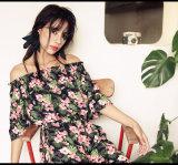 Neue Sommer-Frauen-Kleider mit hellblauer Blumenc$glocke-hülse Schaltkleid-Frauen-Blumen-Kleid-Frauen-Kleidung