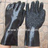 Перчатка работы PVC черноты грубого шпицрутена отделки тяжелая резиновый