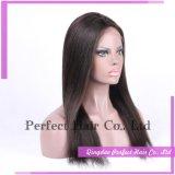 Candeggiare le parrucche piene della parte anteriore del merletto della parrucca non trattata dei capelli umani del nodo